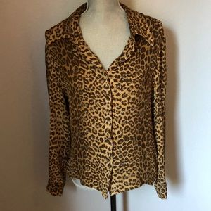 Silk Oscar de La Renta Leopard Top
